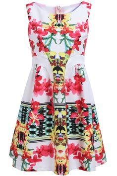 Shop White Sleeveless Zipper Floral Pleated Dress online. Sheinside offers White Sleeveless Zipper Floral Pleated Dress & more to fit your fashionable needs. Free Shipping Worldwide!