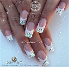 Luminous Nails: White & Silver Nails with Bling...