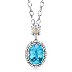 18K Yellow Gold and Sterling Silver Necklace with a Blue Topaz Crystal Pendant
