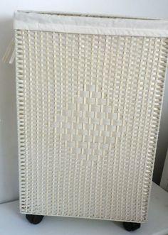 Wäschekorb extra schmal SLIM LINE Rollen creme Weiß 15cm Wäschesammler Korb NEU
