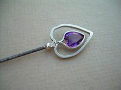 Antique Charles Horner Art Nouveau Silver and Amethyst Hat Pin Chester 19?? . | eBay