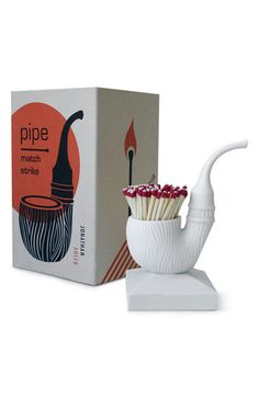 Jonathan Adler 'Pipe' Porcelain Match Strike available at #Nordstrom - reviews say the strike pad doesn't work, but still adorable.