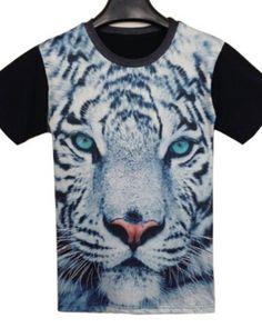 7d1429bd76e4 3D tiger print tee shirts for men short sleeve black t shirt- Tiger T Shirt