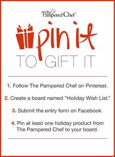 We're making holiday wishes come true! From now until December 6th, you have the chance to Pin It To Gift It. Click through to our Facebook page to enter!