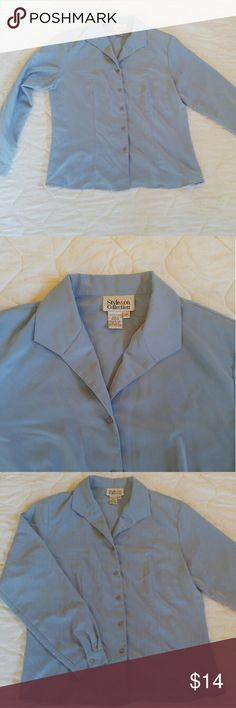 Blouse Classic Style & Co. light blue button-up. 100% polyester. Small removable shoulder pads. Style & Co Tops Button Down Shirts