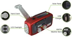 Hand crank radio with flashlight, solar power, and cell phone charger (72 Hour kit!) good idea
