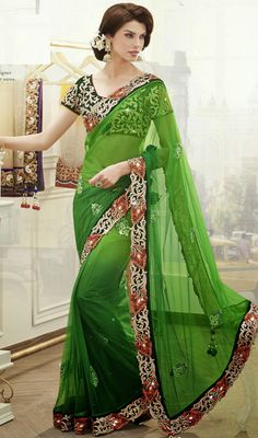 Bottle Green Net Saree with Crystal Work