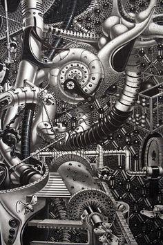 "Samuel Gomez Reveals New Largescale Drawings ""Decrypted Savants"" & ""Oasis"" Imagination Drawing, Dystopian Society, Custom Tattoo, Galaxy Wallpaper, Mural Art, Fantastic Art, Psychedelic Art, Artist At Work, Zentangle"