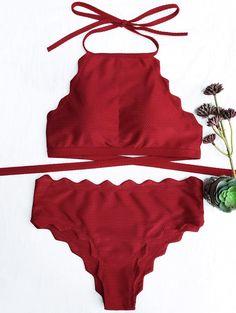 Scalloped High Neck Tie Back Bikini - BURGUNDY S
