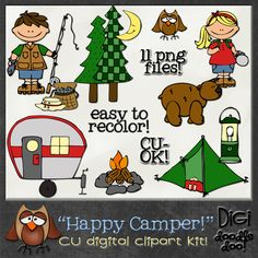 Happy Camper! CU clipart  Outdoor / Camping themed clipart style doodles. Comes with 11 png file precolored doodles. CU-OK! -No Credit Required-