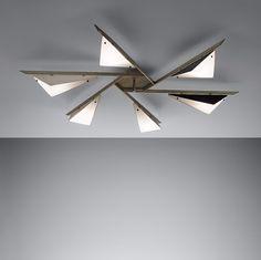 Angelo Lelli; Opaque Glass, Enameled Aluminium and Brass Ceiling Light for Arredoluce, c1950.