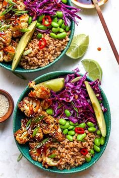Teriyaki Cauliflower Power Bowls are vegan and easily made gluten-free for a healthy, nutrient charged meal full of plant protein and fiber. Veggie Recipes, Whole Food Recipes, Vegetarian Recipes, Plant Based Dinner Recipes, Recipes Dinner, Best Healthy Recipes, Vegetarian Bowl, Health Recipes, Lunch Recipes
