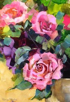 Pink Petal Roses by Texas Flower Artist Nancy Medina, painting by artist Nancy Medina
