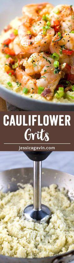Cauliflower Grits with Spicy Shrimp via @foodiegavin