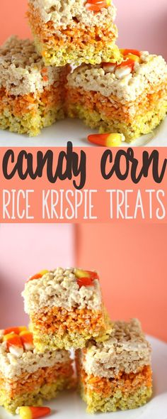Candy Corn Rice Krispie Treats are the perfect combination of two classic favorites. Candy Corn Rice Krispie Treats are the perfect combination of two classic favorites. Halloween Desserts, Hallowen Food, Halloween Food For Party, Halloween Cupcakes, Halloween Treats, Vintage Halloween, Halloween Halloween, Rice Krispy Treats Recipe, Rice Crispy Treats