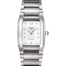 Chrome steel case with a chrome steel bracelet. Fastened stainless steel bezel. White dial with silver-tone palms and alternating Arabic numeral and dot hour