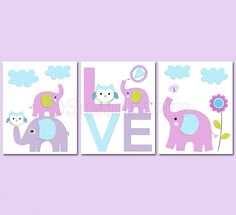 purple+and+aqua+Nursery+Art+Print+Set+Kids+Room+by+SugarInspire,+$39.95