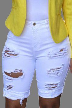 White Casual Patchwork Ripped Mid Waist Straight Denim Shorts Orange Fashion, Black White Fashion, Colorful Fashion, Wholesale T Shirts, Wholesale Clothing, Shoes Wholesale, Denim Fashion, Fashion Outfits, Sneakers Fashion