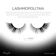 "Feeling glamourous and flirtatious? These false lashes are absolutely stunning when paired with smokey eyes. The winged-out effect is GORGEOUS. These are the  ""Lashmopolitan' #lashes from #ESQIDO. http://ESQIDO.com #minklashes #falselashes #eyelashes #eyelashextentions #fakelashes #luxury #wishlist #makeup #beauty #mua #falsies"