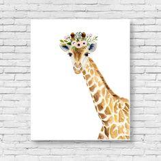 Watercolor giraffe Woodland nursery Animal Paintings by zuhalkanar