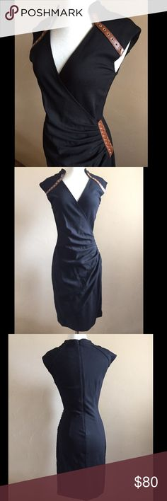 NWOT Cache sexy black dress Washed but never worn. Beautiful, flattering and sexy black Cache dress, size 4. Faux leather detail with gold hardware along the necklace and side. Approx knee length. Cache Dresses Midi