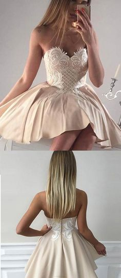 Prom Dresses 2017, Short Prom Dresses, 2017 Prom Dresses, Sexy Prom dresses, Champagne Prom Dresses, Short Homecoming Dresses, Homecoming Dresses 2017, Sleeveless Homecoming Dresses, Champagne Sleeveless Homecoming Dresses, Beautiful Homecoming Dress Sexy Fashion Appliques Short Prom Dress Party Dress