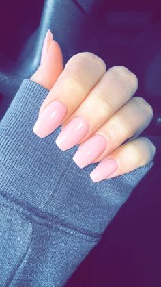 Coffin nails, Acrylic nails, Light pink, Nude nails, Classy