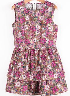 Red Sleeveless Vintage Floral Double Layers Dress - Sheinside.com