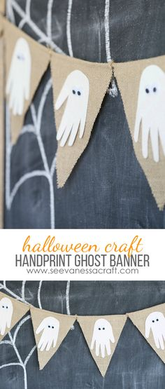 Make a GHOST HANDPRINT BANNER with some help from @ScotchBrand #HandsOnCrafty #ad - a fun Halloween craft for kids using glitter tape!