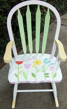 Bow Back tulip rocking chair, baby furniture, hand painted furniture - Rocking Armchair Painted Baby Furniture, Hand Painted Chairs, Baby Room Furniture, Furniture Chairs, Furniture Redo, Painting Furniture, Cheap Furniture, Furniture Projects, Painting Art