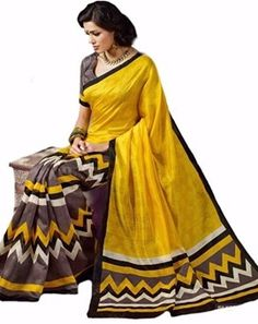 #Yellow #Cotton Printed Exclusive #Saree With Blouse
