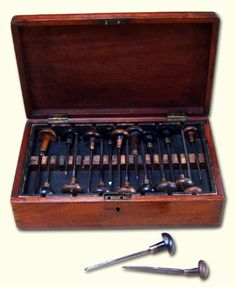 I want this!!! A mid-19th century box of wood engraving tools