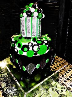 Bright and adorned with a limes at the bottom as well as edible glitter this was one fun cake.