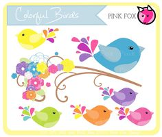 INSTANT DOWNLOAD - bird clip art -  by pinkfoxdesigns on Etsy.