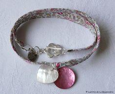 Bracelet double tour coeur et nacre