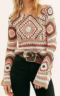 Crochet Fabric, Crochet Cardigan, Crochet Lace, Crochet Poncho Patterns, Granny Square Crochet Pattern, Crochet Fashion, Crochet Clothes, Knitting, Clothing