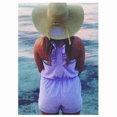 """Everything is better with a monogram. MM in Mexico in the """"All Roads Lead South"""" lavender seersucker romper"""