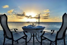 There are plenty of nice places to eat on Aruba, but the Simply Fish restaurant at the Aruba Marriott is unlike anything else. Every night elegant tables are set up along the beach and if you time it just right you can watch the perfect sunset with your loved one.
