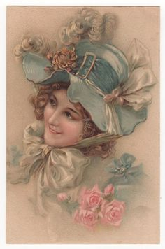 Lovely Marquise in Blue with An Engaging Smile Original Vintage Art Postcard | eBay