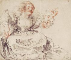 Seated Young Woman With Raised Arms by Peter Paul Rubens, 1631–1632, black and red chalk with white heightening, 16 x 19 11/16.