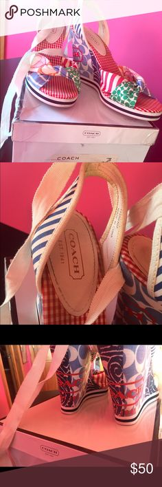 Coach lace up wedges Very fun pair of wedges that lace up and ties around your ankle, Gently used Coach Shoes Wedges