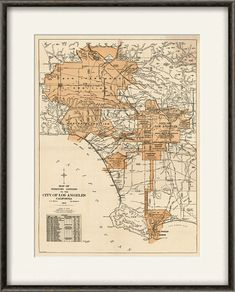 Los Angeles map print map vintage old maps by VictorianWallDecor, $20.00