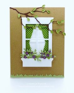 I love the tree branch over the window. I would use my Tim Holtz Brick EF for the wall & use some Flower Soft in the window box & on the branch too (make it look like a cherry tree in blossom).