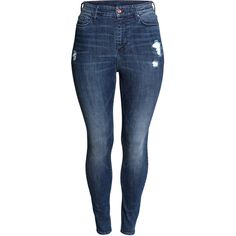 H&M+ Skinny High Jeans 349.- ($40) ❤ liked on Polyvore featuring jeans, pants, blue jeans, super stretch skinny jeans, denim jeans, stretch jeans and stretchy jeans