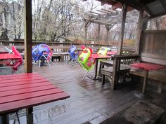 cool colored wood table tops, ugly chairs