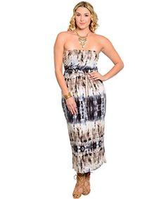 Feellib Women's Plus Size Strapless Tie-Dye Maxi Dress 2X-Large Ivory Grey Brown Feellib http://www.amazon.com/dp/B00PD3OTOC/ref=cm_sw_r_pi_dp_jn1fvb08Q2EZG