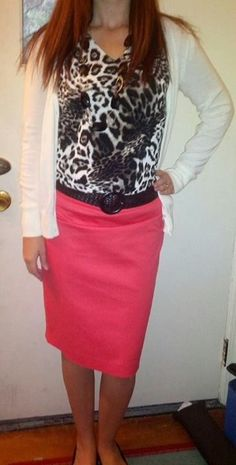 Pink skirt. Gray leopard top. Cream cardigan. Awesome! I have all these pieces and never put them together!