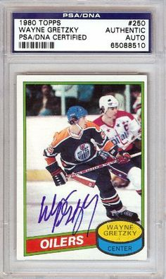 Wayne Gretzky Autographed 1980 Topps Card PSA/DNA Slabbed #65088510 . $189.00. This is a hand signed Wayne Gretzky 1980 Topps Card. This item has been authenticated and slabbed by PSA/DNA.