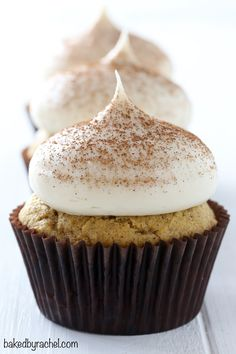 Moist pumpkin cupcakes with brown sugar cream cheese frosting recipe from @bakedbyrachel