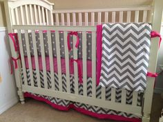 Hot Pink and Grey Chevron Custom Crib skirt for Kinsey via Etsy